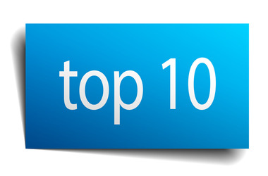 top 10 blue paper sign isolated on white